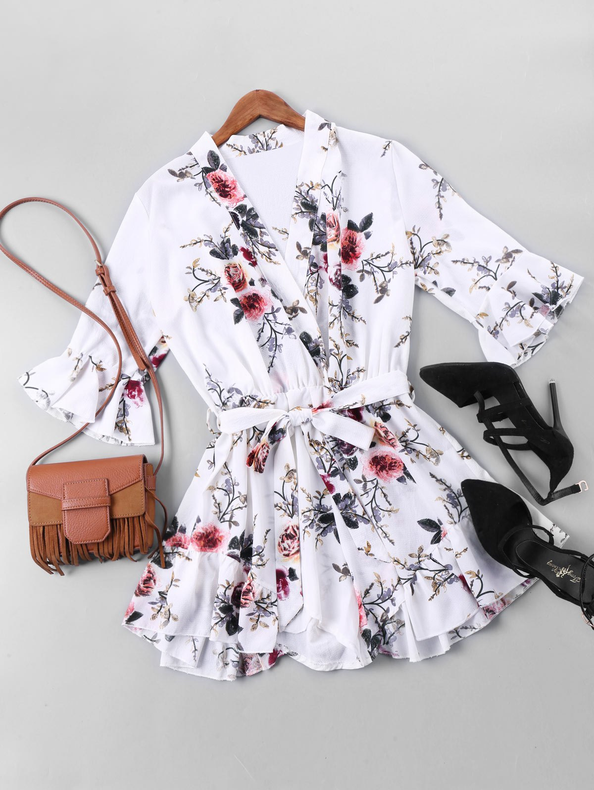 Image result for Floral Printed Belted Faux Wrap Romper