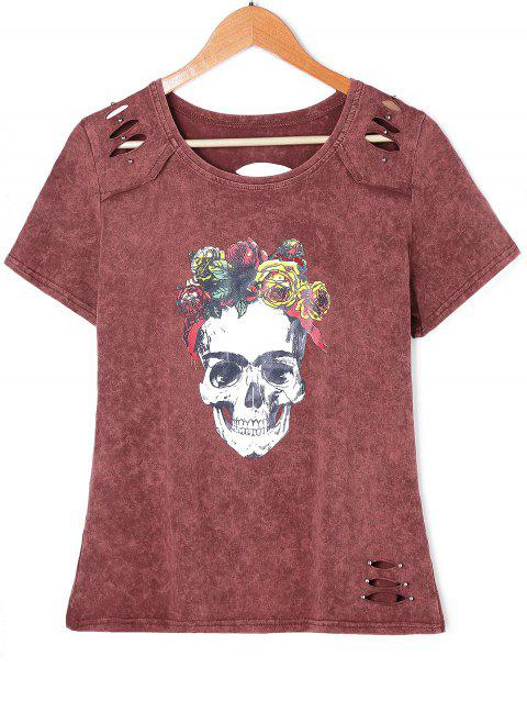 T-shirt graphique Rose Skull - Brique rouge XL
