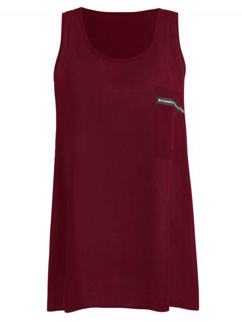 Pocket Plus Size Tank Top - WINE RED 2XL