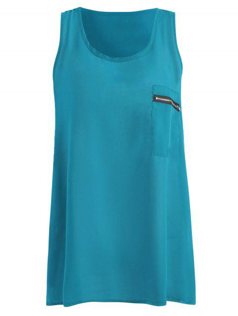 Pocket Plus Size Tank Top - PEACOCK BLUE 2XL