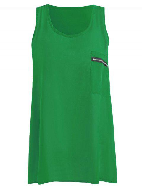 Pocket Plus Size Tank Top - GREEN 2XL