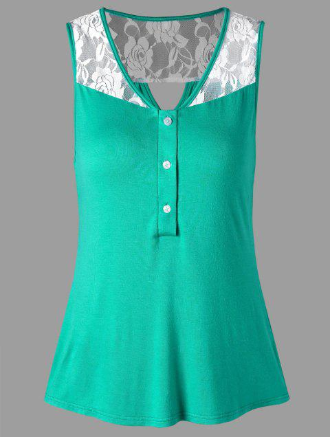 Rose Lace Cut Out Tank Top - GREEN M