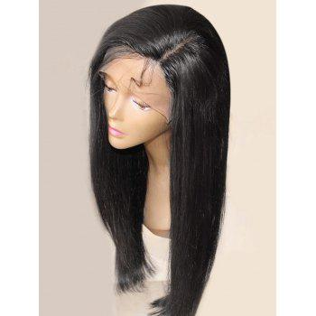 Long Side Parting Straight Synthetic Fiber Lace Front Wig - BLACK