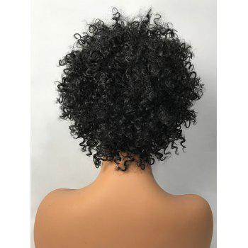 Short Side Bang Capless Fluffy Curly Synthetic Wig - BLACK