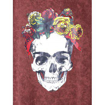 Rose Skull Graphic T-shirt - BRICK RED XL