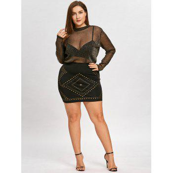 Rhombus Pattern Plus Size Rivets Mini Skirt - BLACK 3XL