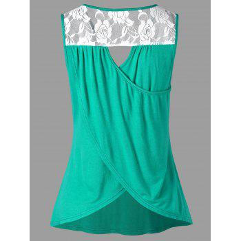 Rose Lace Cut Out Tank Top - GREEN L