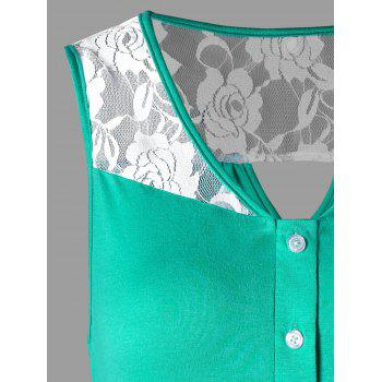 Rose Lace Cut Out Tank Top - GREEN XL