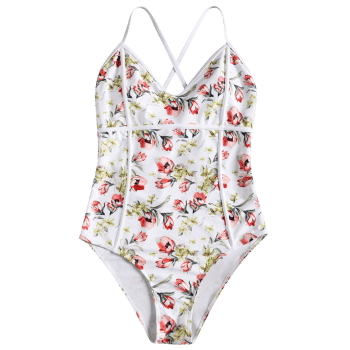 One Piece High Leg Floral Swimwear - WHITE S