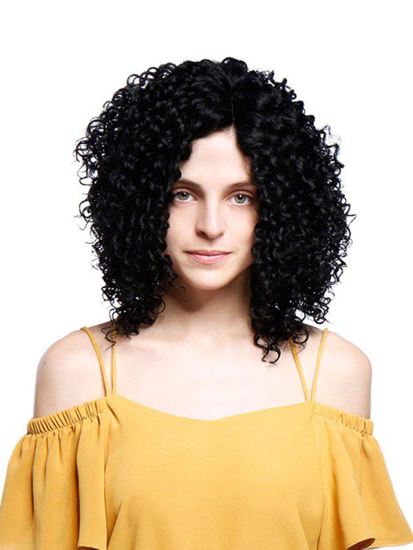 Short Inclined Fringe Fluffy Kinky Curly Synthetic Wig - JET BLACK