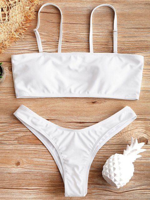 Scrunch High Cut Thong Bikini Set - WHITE S