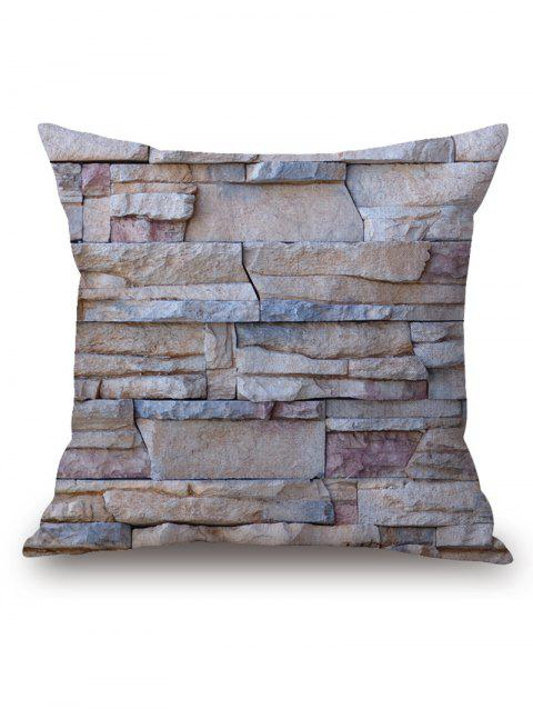 Natural Stone Wall Print Square Pillow Case - GRAY 45CM*45CM