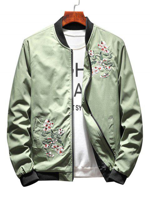 Zip Up Flower Embroidery Ribbings Pilot Jacket - PEA GREEN XL