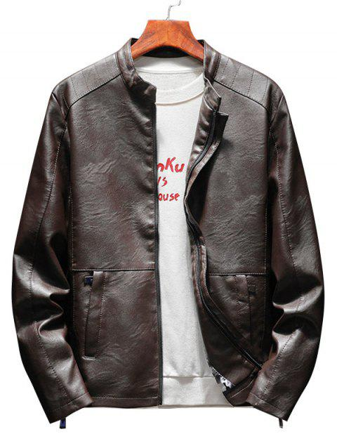 Casual Faux Leather Jacket with Zipper Pockets - CAPPUCCINO L