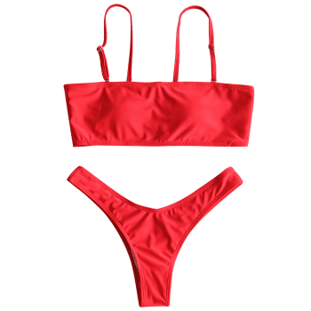 Ensemble Bikini Thong à Coupe Haute - Rouge S
