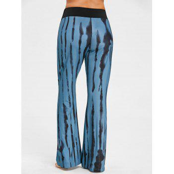 Vertical Stripe Ink Printed Wide Leg Pants - COLORMIX M