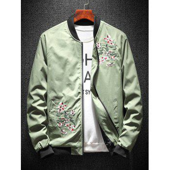 Zip Up Flower Embroidery Ribbings Pilot Jacket - PEA GREEN 2XL