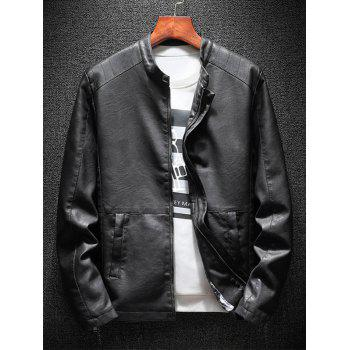 Casual Faux Leather Jacket with Zipper Pockets - BLACK L