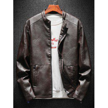 Casual Faux Leather Jacket with Zipper Pockets - CAPPUCCINO XL