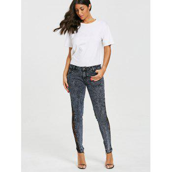 Flower Lace Insert Low Waist Jeans - SMOKEY GRAY M