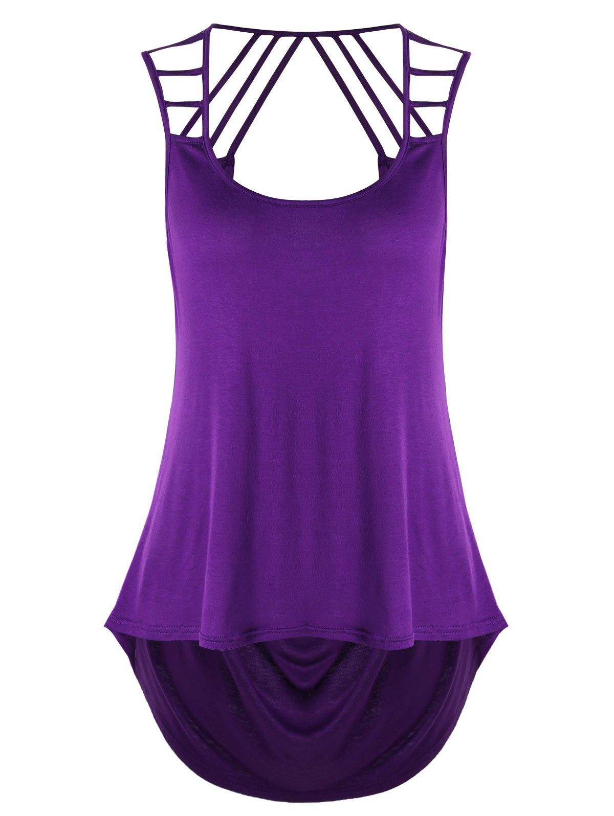 Cut Out Asymmetrical Tank Top - PURPLE XL