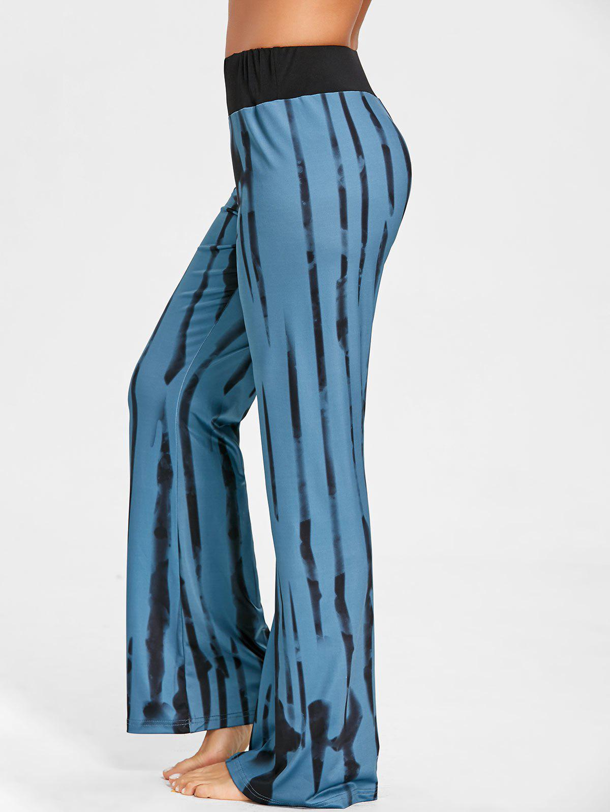 Vertical Stripe Ink Printed Wide Leg Pants - COLORMIX L