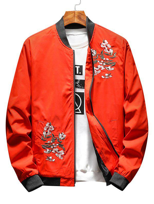 Zip Up Flower Embroidery Ribbings Pilot Jacket - ORANGE 2XL
