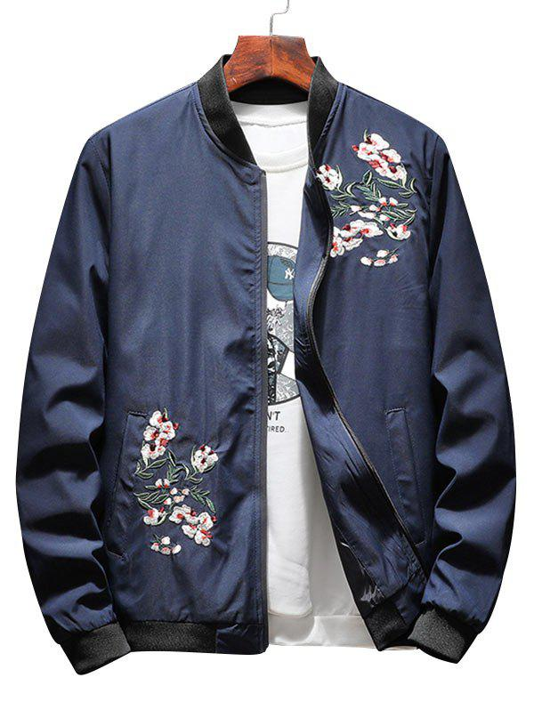 Zip Up Flower Embroidery Ribbings Pilot Jacket - DEEP BLUE XL