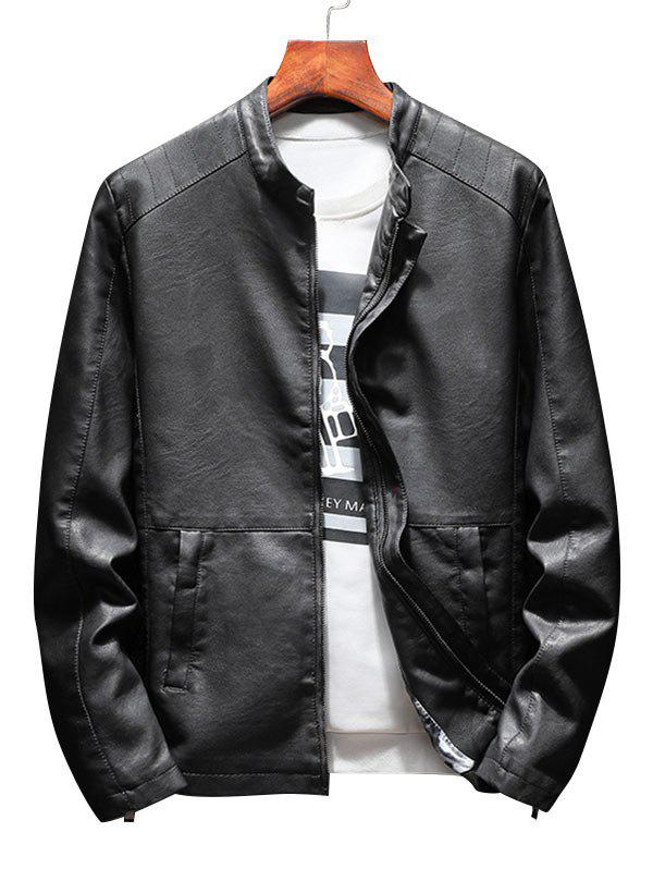 Casual Faux Leather Jacket with Zipper Pockets - BLACK 3XL