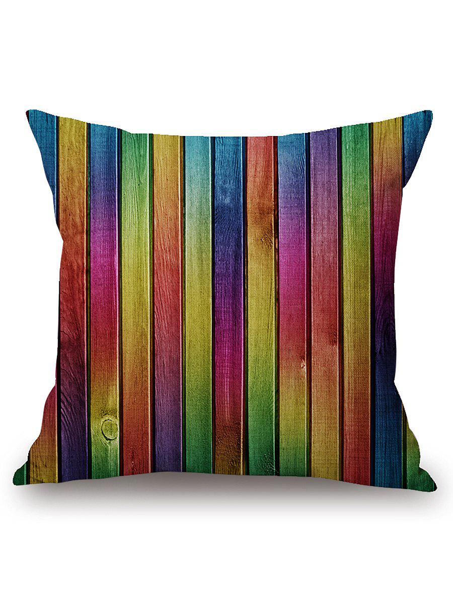 Wooden Colorful Plank Print Throw Pillow Case merry christmas grass cushion throw pillow case