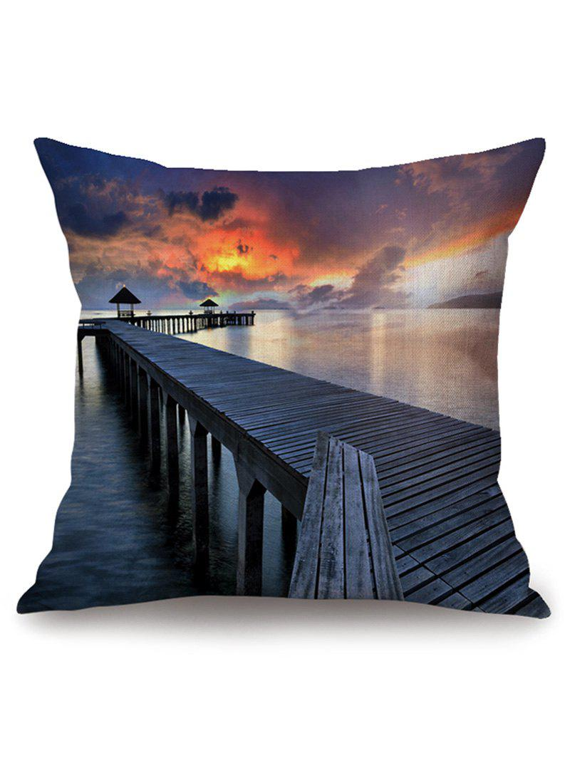 Sea Wooden Bridge at Dusk Print Decorative Pillowcase - COLORMIX W18 INCH * L18 INCH