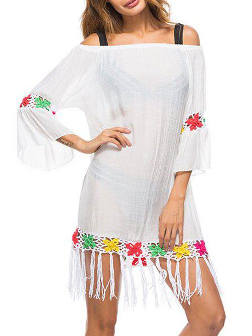 Fringe Crochet See Through Cover Up - WHITE ONE SIZE
