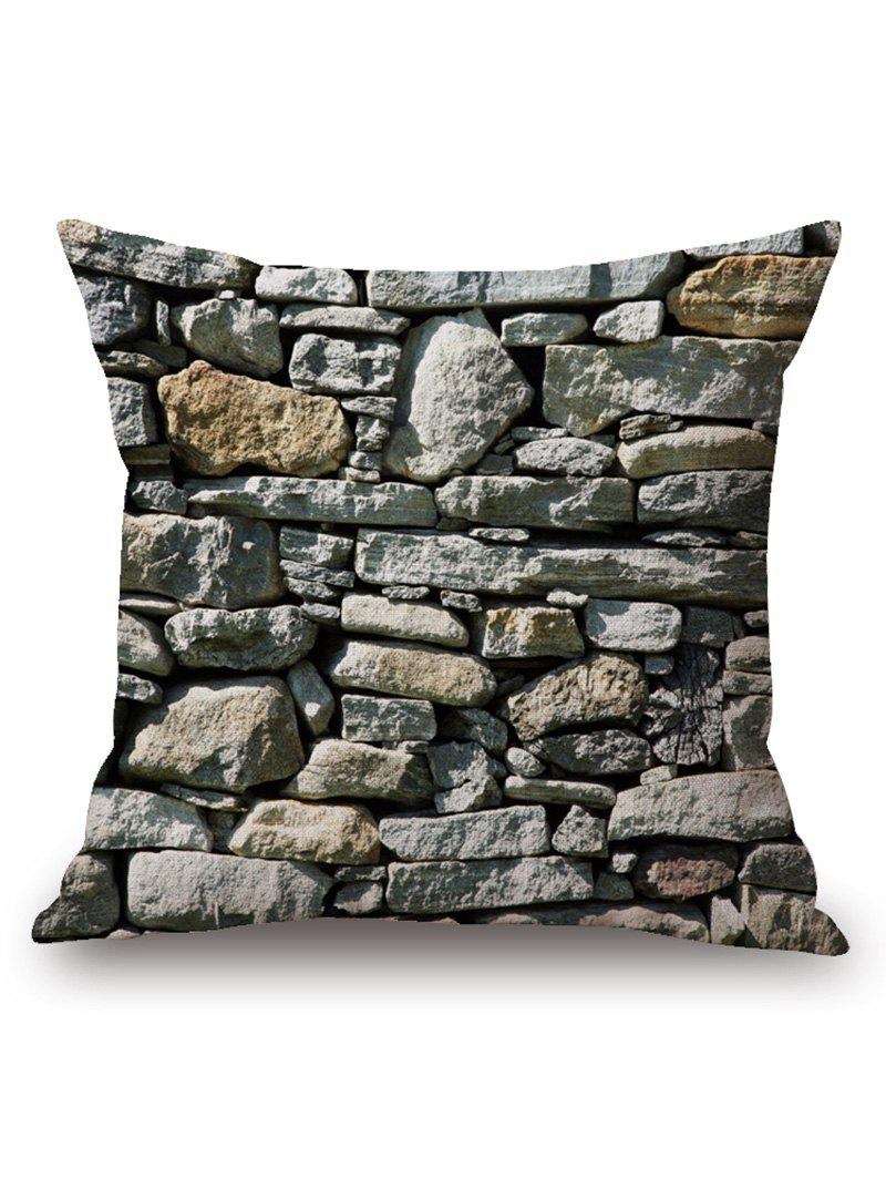 Irregular Stone Wall Print Square Pillow Cover - GRAY 45*45CM