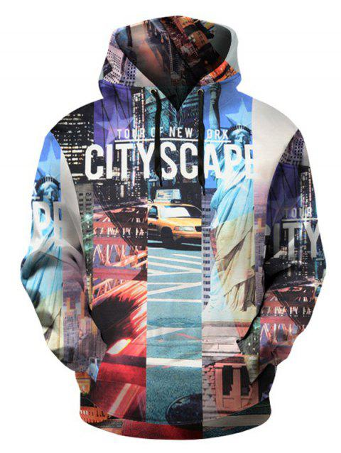 City Scape Pattern Pullover Hoodie with Kangaroo Pocket - COLORMIX XL
