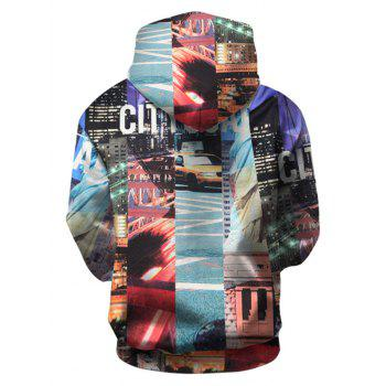 City Scape Pattern Pullover Hoodie with Kangaroo Pocket - COLORMIX 2XL