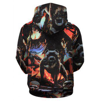 Kangaroo Pocket Drawstring Beast Hoodie - COLORMIX XL