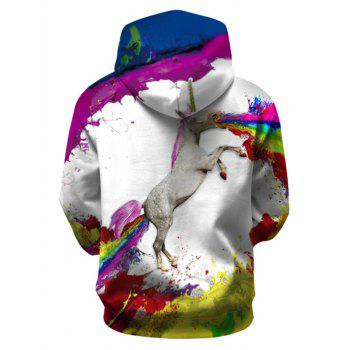 Painted Unicorn Pullover Hoodie with Kangaroo Pocket - WHITE L