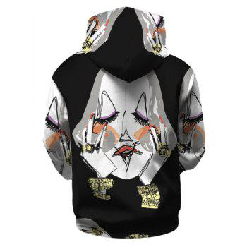 Illustration Pattern Hoodie with Kangaroo Pocket - BLACK 3XL