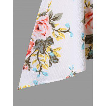 Empire Waist Plus Size Floral Blouse - WHITE 4XL
