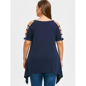 Cut Out Plus Size Tunic T-shirt - PURPLISH BLUE 5XL