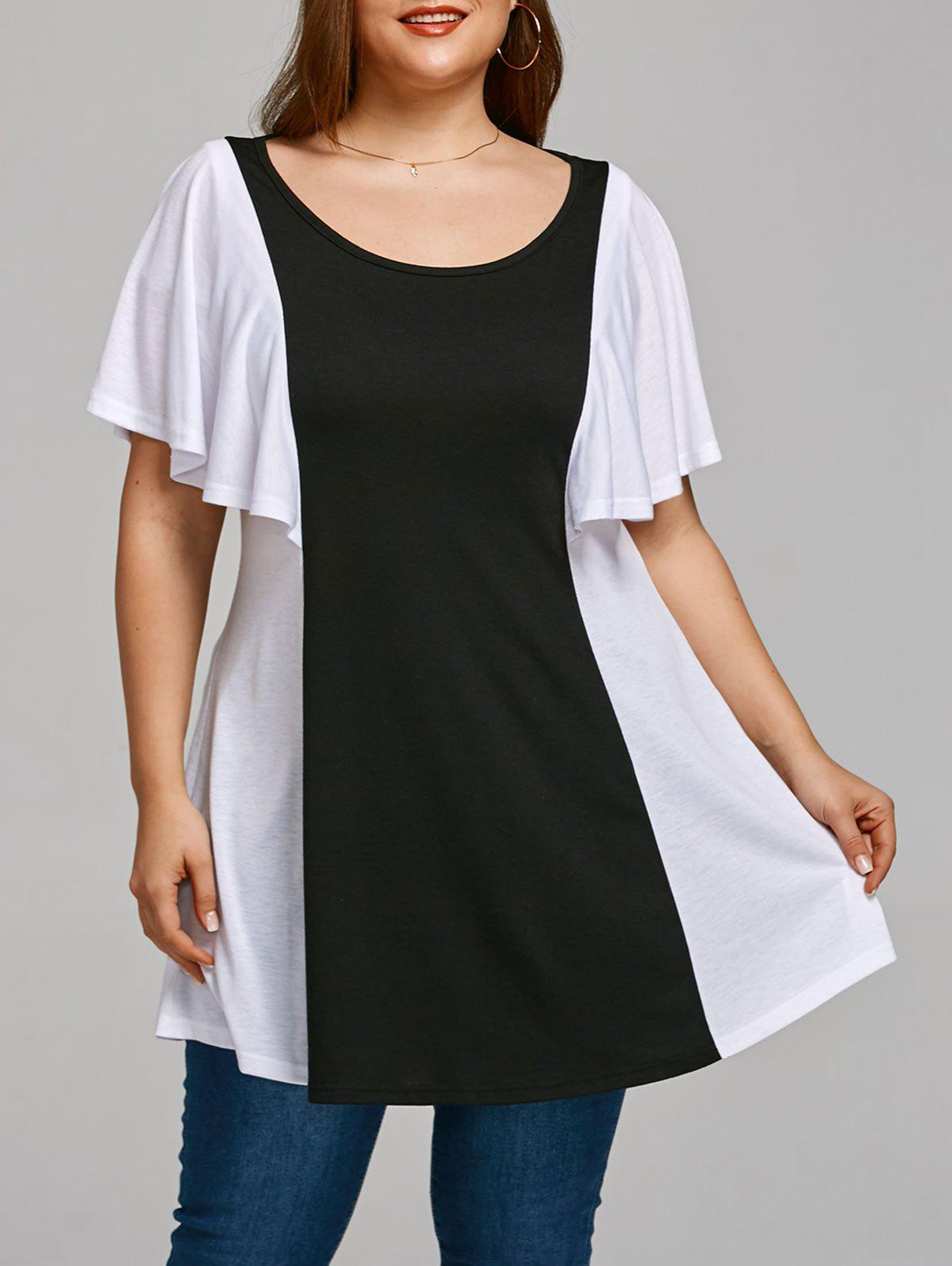 Color Block Plus Size Tunic T-shirt - BLACK WHITE 3XL
