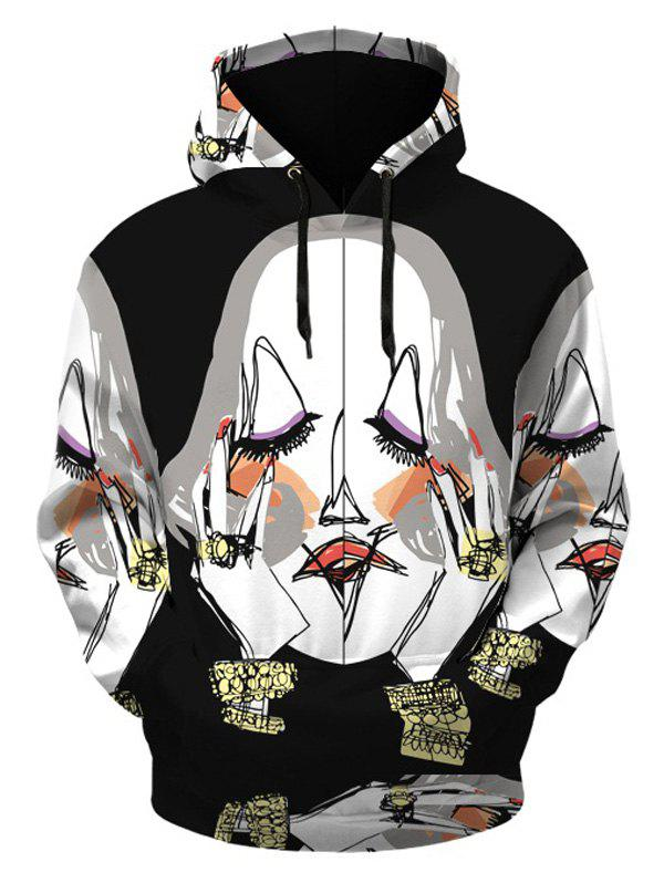 Illustration Pattern Hoodie with Kangaroo Pocket - BLACK 2XL