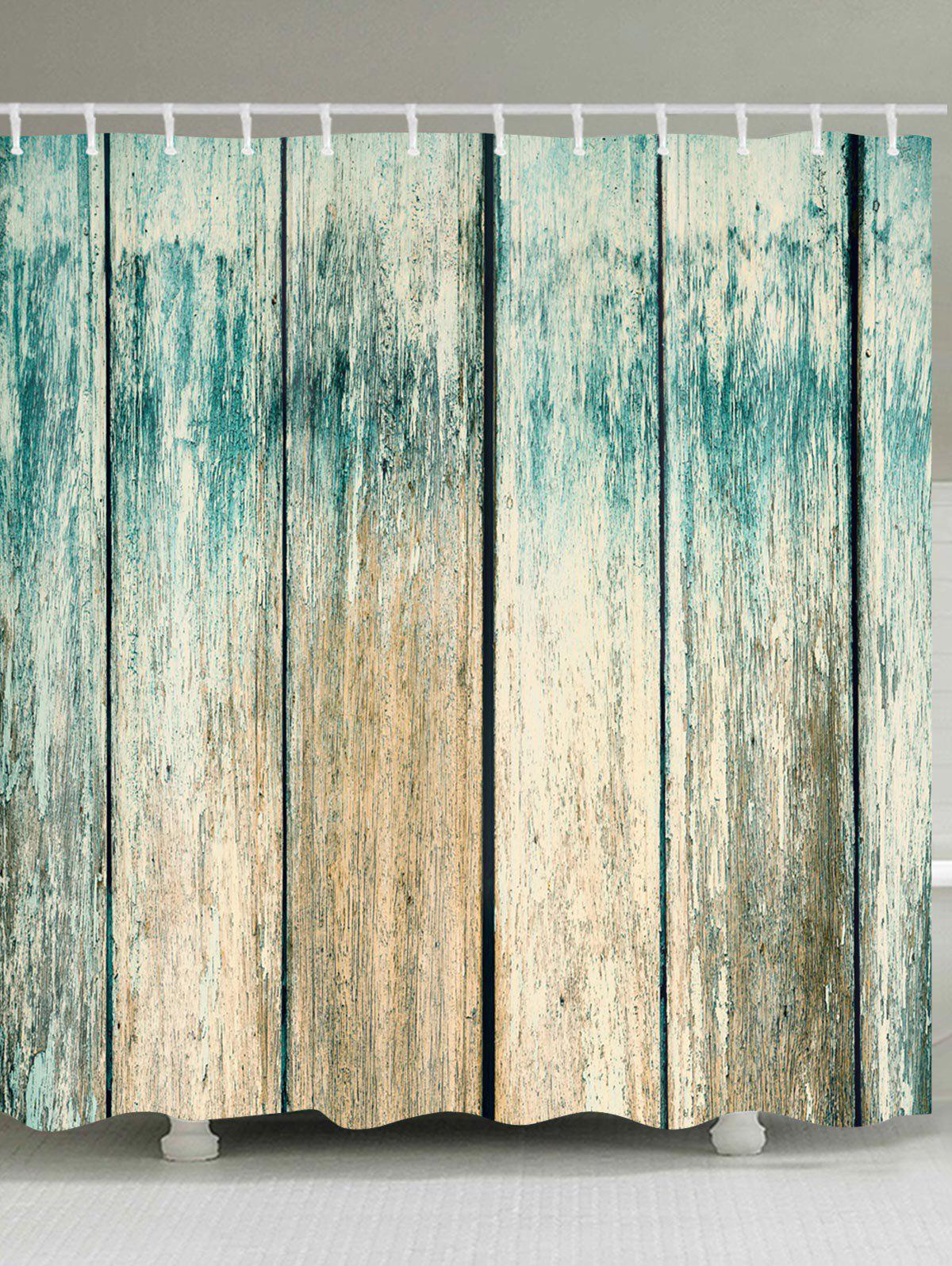 Old Plank Printed Waterproof Fabric Shower Curtain