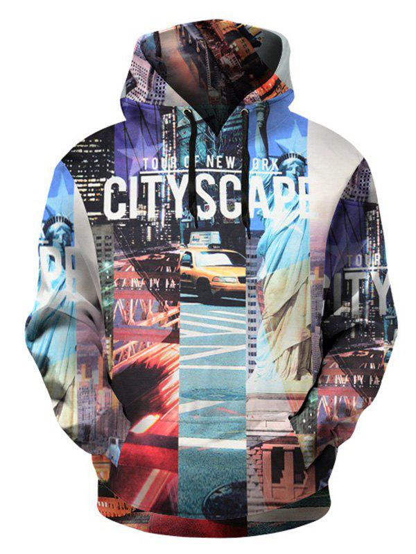 City Scape Pattern Pullover Hoodie with Kangaroo Pocket - COLORMIX 3XL