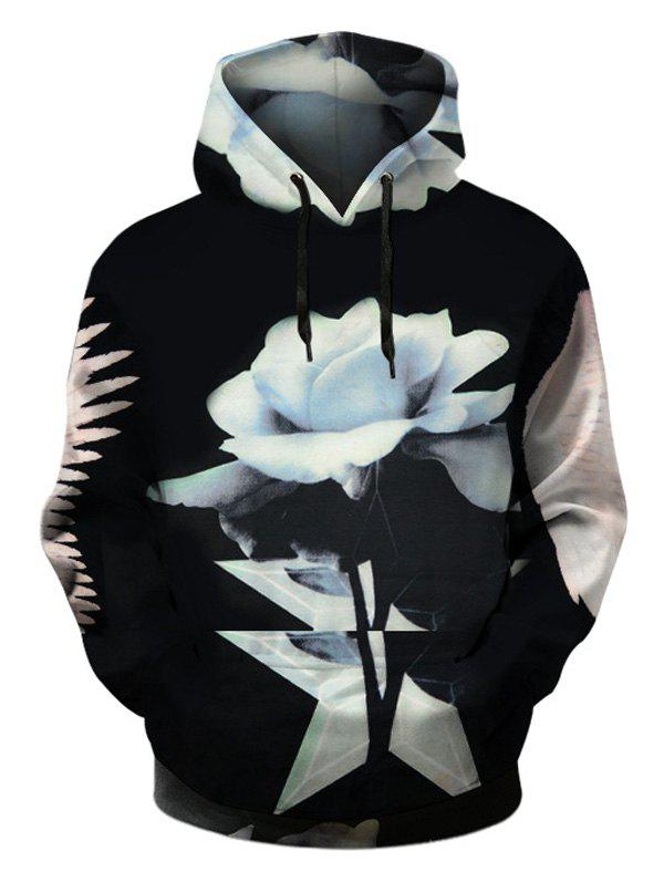 Pullover Floral Hoodie with Kangaroo Pocket - BLACK 2XL
