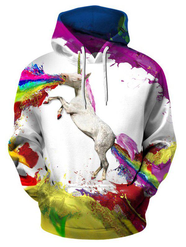 Painted Unicorn Pullover Hoodie with Kangaroo Pocket - WHITE 2XL