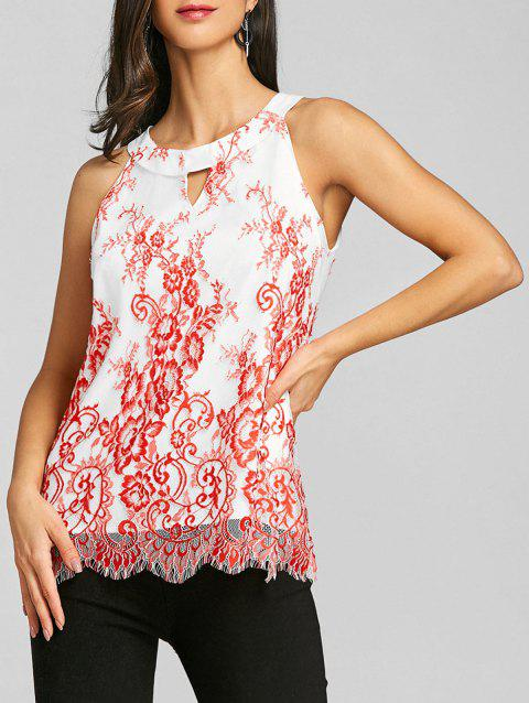 Keyhole Neck Scalloped Edge Tank Top - RED L