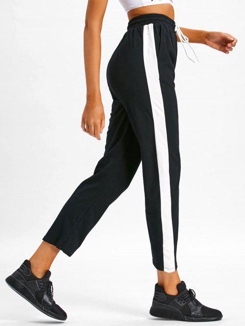 Color Block Casual Ninth Pants - BLACK S