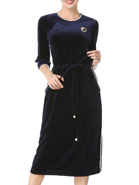 Long Sleeve Drawstring Velvet Midi Dress - DEEP BLUE M