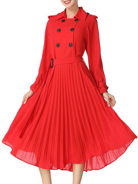 Buttoned Midi Pleated Dress - RED S